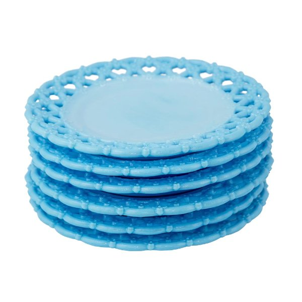 Blue Milk Glass Dessert Plates