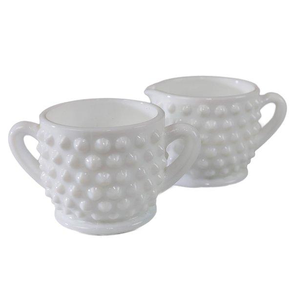 Hobnail Cream and Sugar Set