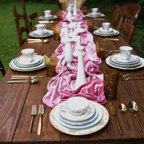 Pink Velvet Table Runner
