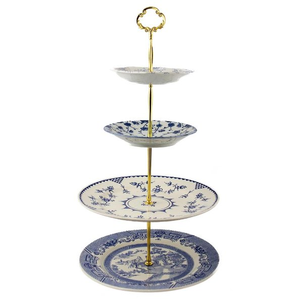 Blue Toile 4-Tier Server