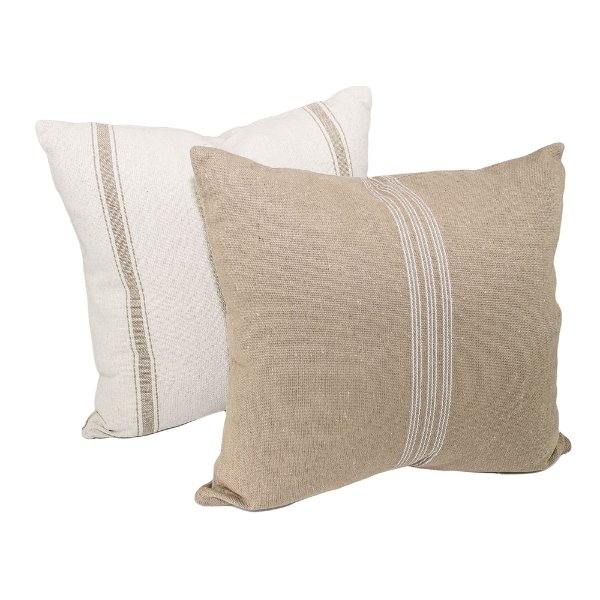 Pair of Striped Grain Sack Pillows
