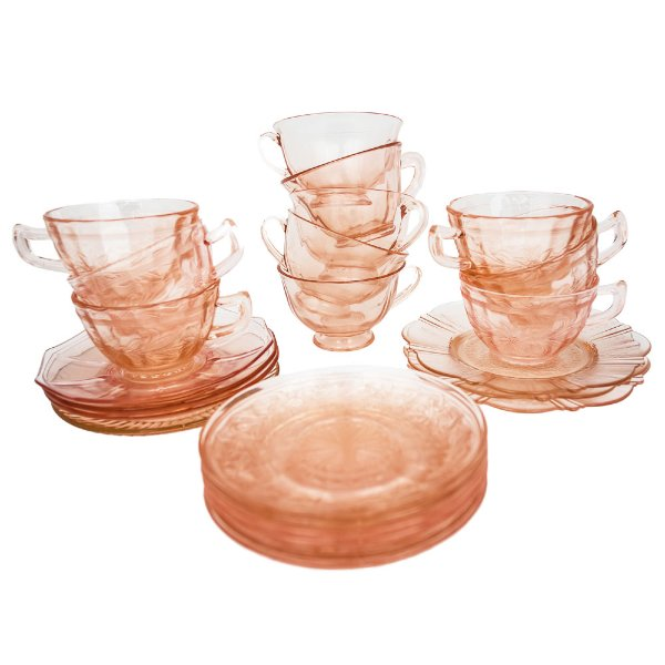 Pink Depression Glass Teacups + Saucers