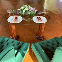Glass top table with wood bases