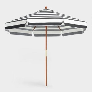 9 ft Market Umbrella Black & White Striped