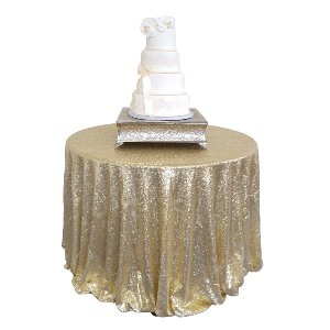 Matte Gold Sequin  Circular Tablecloth