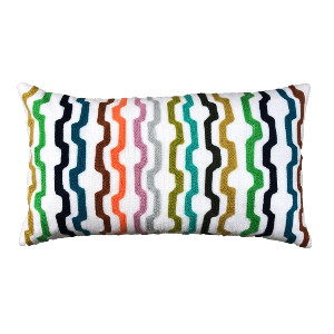 Colorful Embrodiered Lumbar Pillow