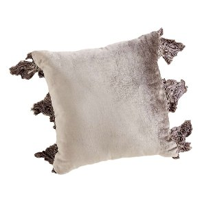 Grey Velvet Fringe Pillow