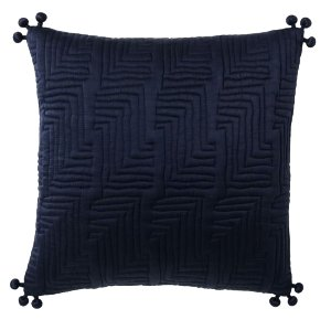 Navy Silk Pom Pom Pillow
