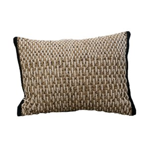 Small White Beaded Lumbar Pillow