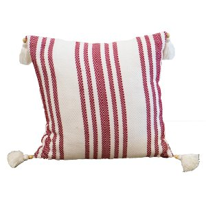 Red, White & Tasseled Pillow