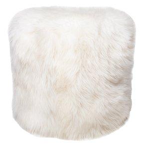 White Faux Fur Poufs