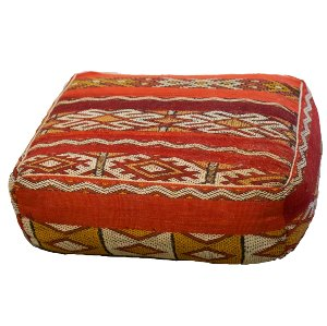 Red Patterned Floor Cushion