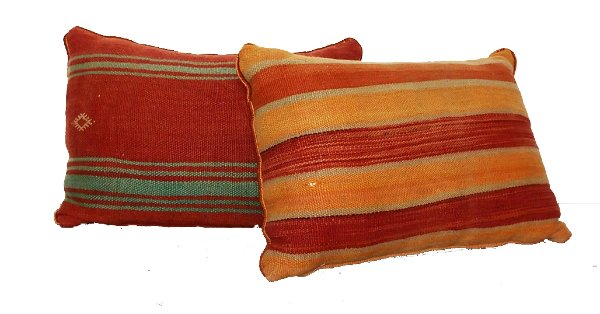 Oversized Red/Orange Striped Pillow