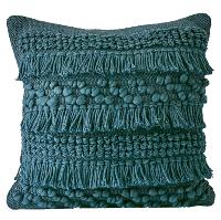 Teal Woven Shag Pillow
