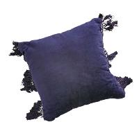 Navy Velvet Fringe Pillow