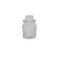 Clear Cut Glass Jar with Lid