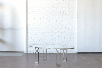 Metal & Glass Oval Coffee Table