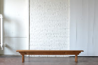 8 Foot Stained Pine Bench