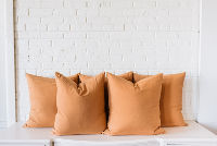 Collection of 5 Large Square Tan Pillows