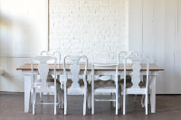 Straight Leg Heritage Table & White Upholstered Dining Chairs