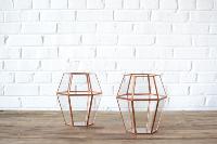 Geometric Copper Lantern - Tall