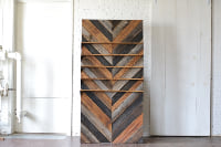 Chevron Wooden Backdrop with Shelves