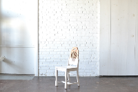 White & Wood Blocked Chair