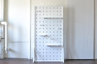 White Pegboard with Pegs & Shelves