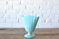 Blue Milk Glass Fan Vase