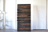 Stained Wooden Backdrop with Shelves