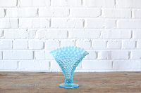 Blue Hobnail Fan Vase