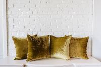 Collection of 4 Light Green Velvet PIllows