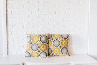 Pair of Yellow & Gray Pattern Pillows