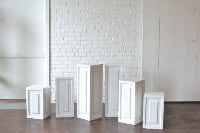 Collection of White Wooden Pedestals