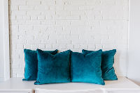 Collection of 4 Jade Velvet Square PIllows