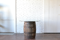 Barrel Table with Glass Top