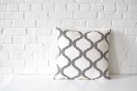 Pillow - Gray on White Quatrefoil