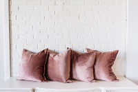 Collection of Four Rose Velvet PIllows