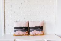 Pair of Pink Modern Square PIllows