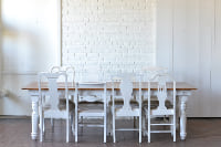 Carved Leg Heritage Farm Table & White Upholstered Dining Chairs