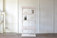 White Carved Post Hutch