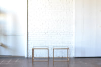 Pair of Gold & Glass End Tables
