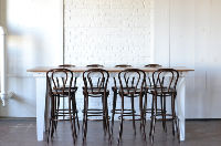 Heritage Farm Table (Bar Height) & Bentwood Barstools