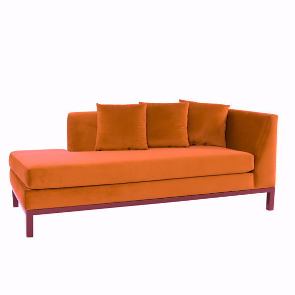 burnt orange slim and tapered chaise lounge