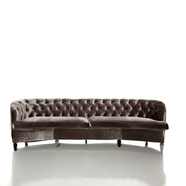 large silver velvet sofa