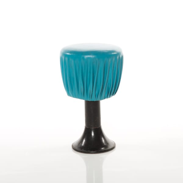 kitchy bar stool with  blue leather with black metal base