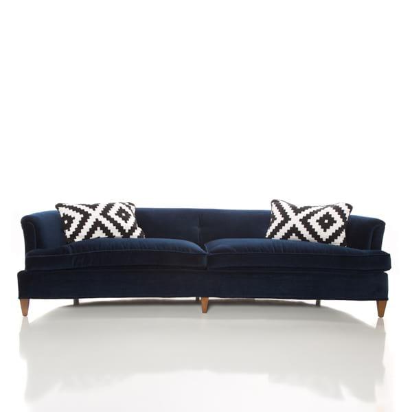 classic navy velvet tufted sofa