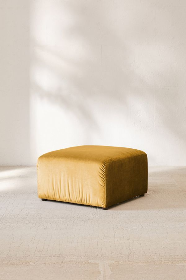 velvet gold ottoman to arrange with armless chair