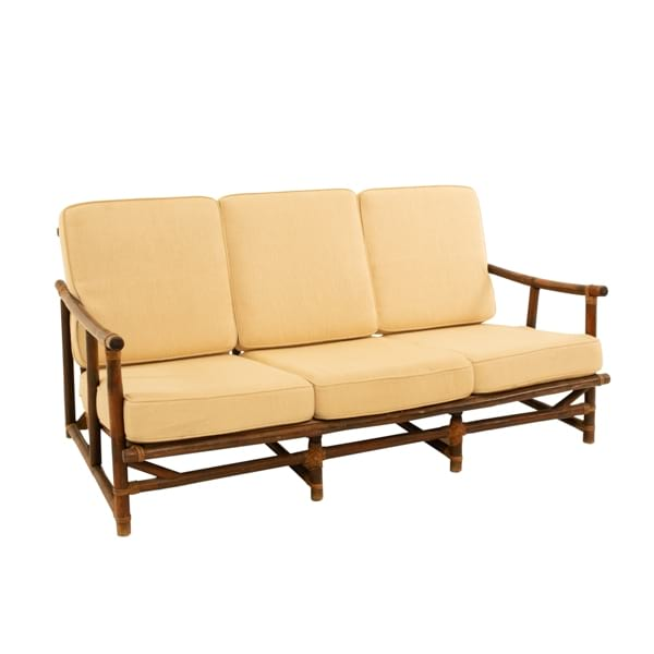 vintage bamboo rattan sofa with desert sand cushion