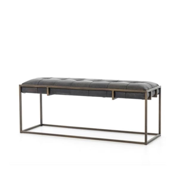charcoal grey cushioned bench with rustic metal frame